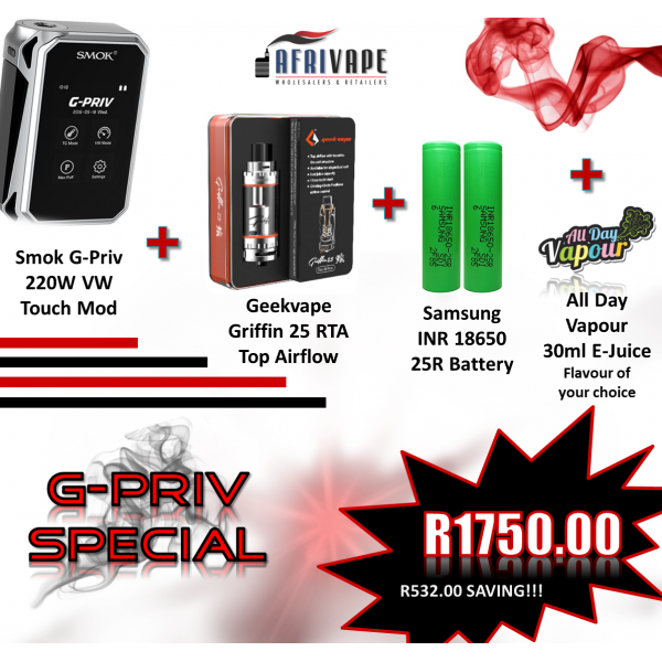 G-Priv Special - Geekvape Griffin 25 RTA Top Airflow  + Smok G-Priv 220W VW Mod + 2 x Samsung 25R Batteries + All Day Vapour 30ml E-Juice